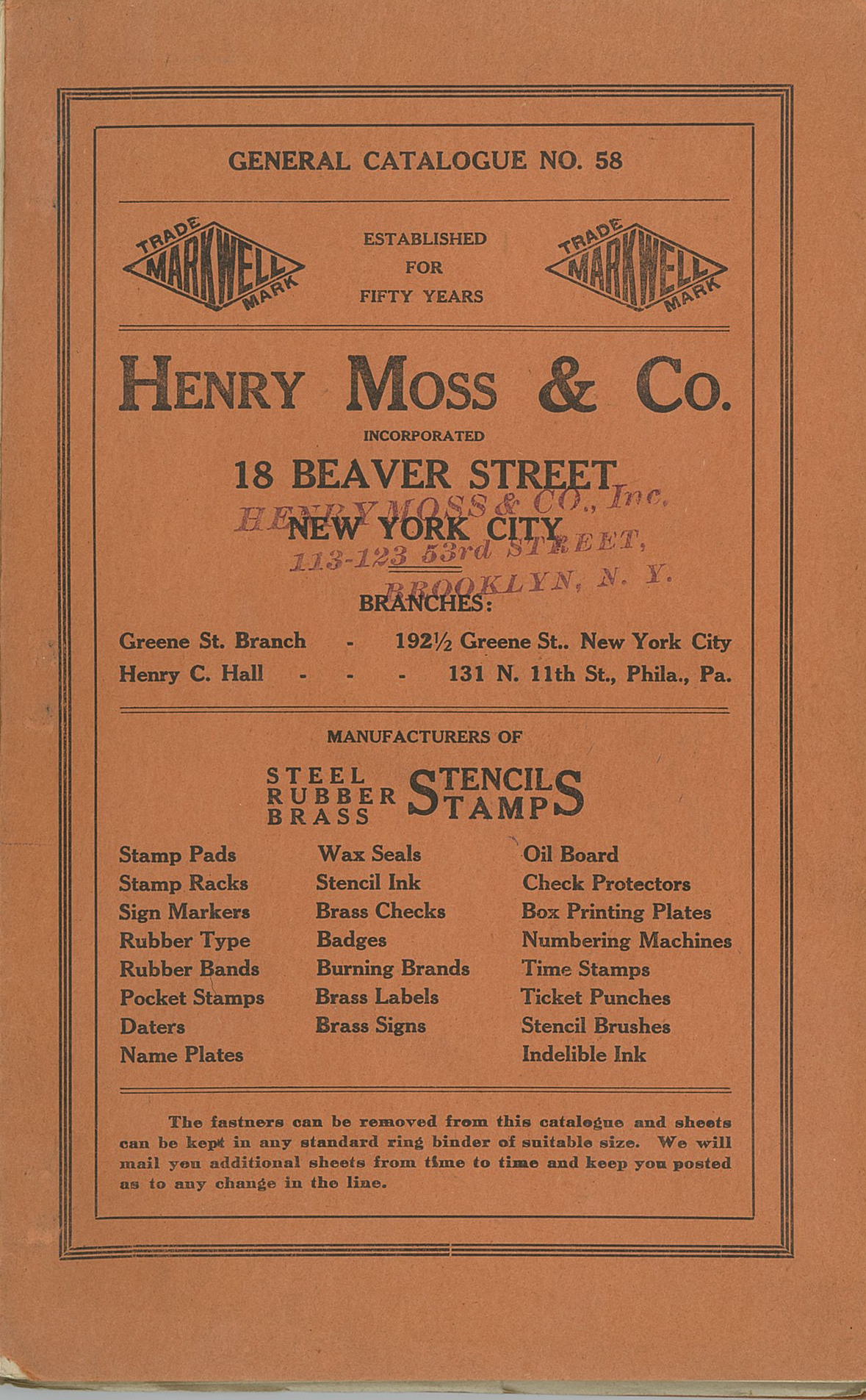 Henry Moss and Company Catalogue